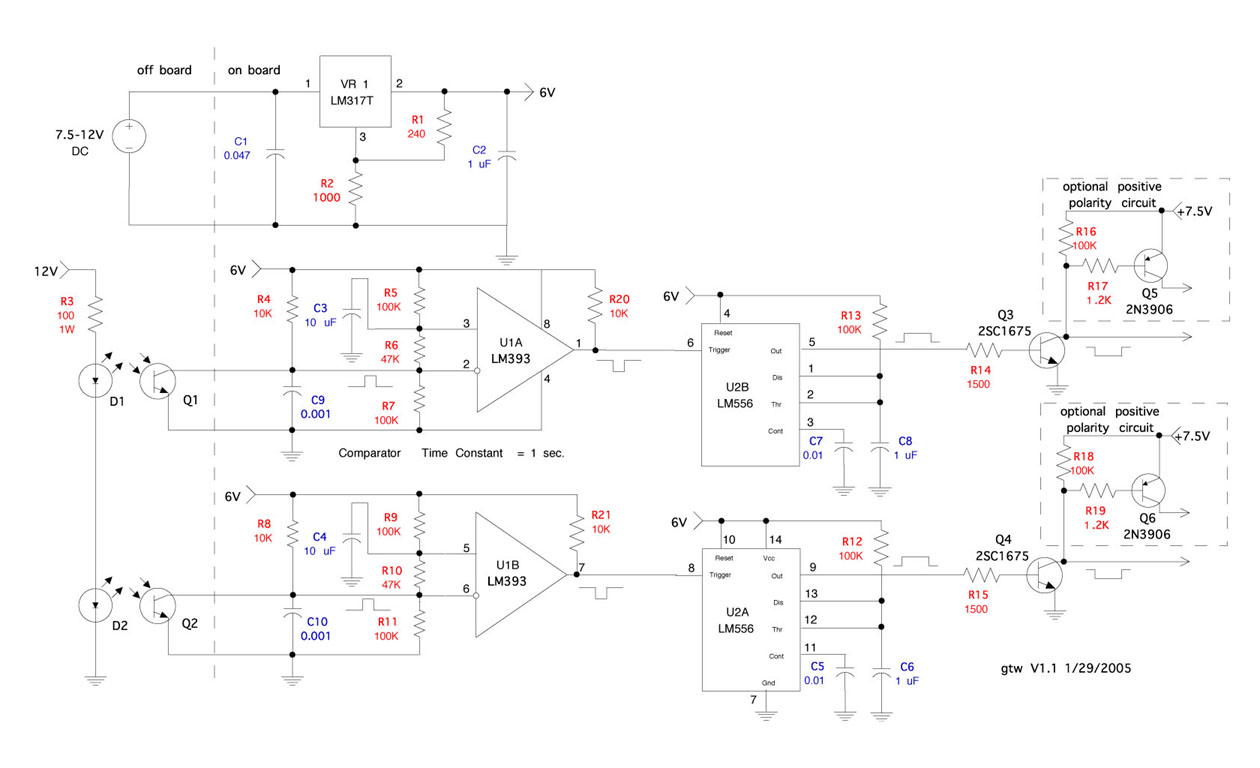 Ds 300 Lap Counter With Optical Interface Timer Circuits Schematics Schematic For Sensor This Is The Circuit I Used To Sensors Ds300